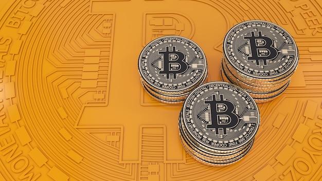 オレンジ色の背景上のビットコインゴールドと黒のメタリックコインの3dレンダリング