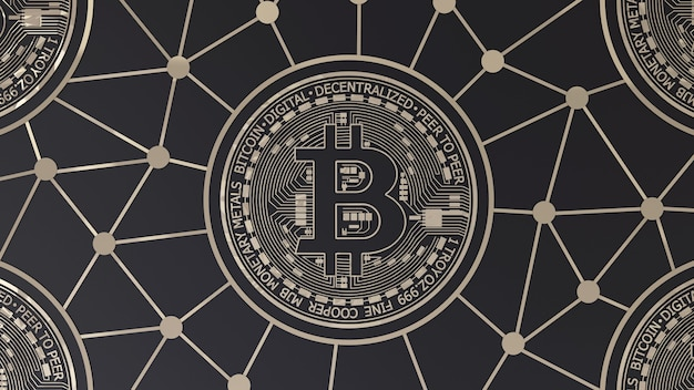 3d-рендеринг логотипа bitcoin gold на черном
