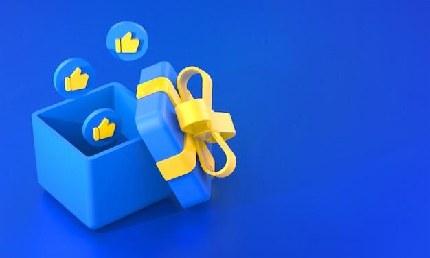 3d-рендеринг синей подарочной коробки с похожими реакциями