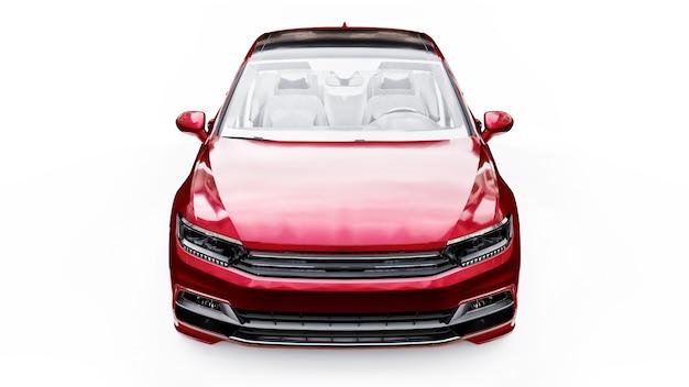白いスタジオ環境でのブランドレスの一般的な赤い車の3dレンダリング。