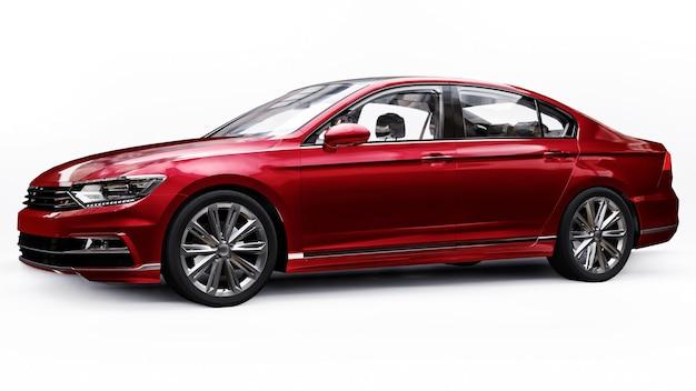 3d-рендеринг безбрендового универсального красного автомобиля в белой студии.