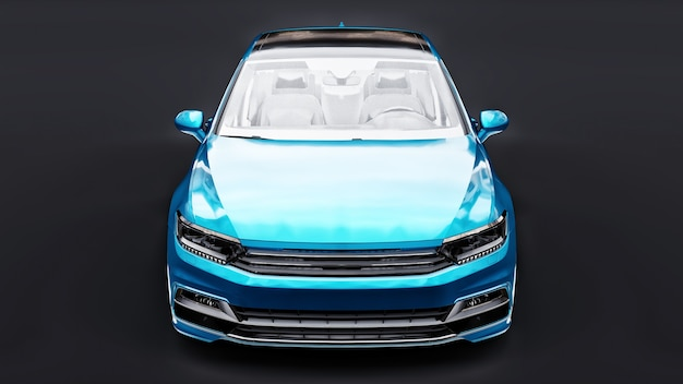 스튜디오 환경에서 내 자신이 디자인한 브랜드 없는 일반 은색 자동차의 3d 렌더링