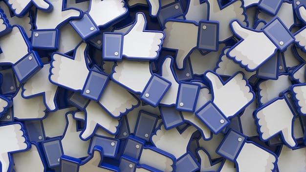 3d-рендеринг кучи значков facebook крупным планом
