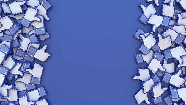 3d-рендеринг кучи значков facebook с центрированной копией на синем фоне