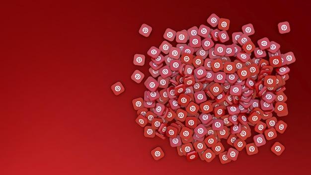 3d-рендеринг связки квадратных значков с логотипом pinterest на красном фоне