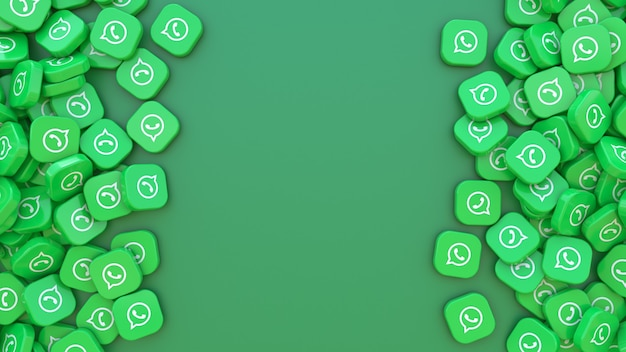 3d-рендеринг связки квадратных значков с логотипом whatsapp на зеленом фоне