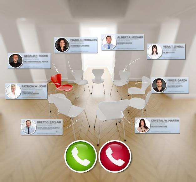 전화 회의를 위해 연결하는 사람들의 아이콘이있는 의자 원의 3d 렌더링