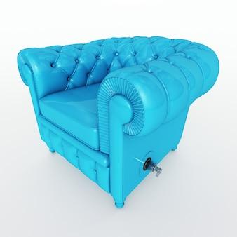 3d-рендеринг классического клубного кресла синего цвета с клапаном наддува