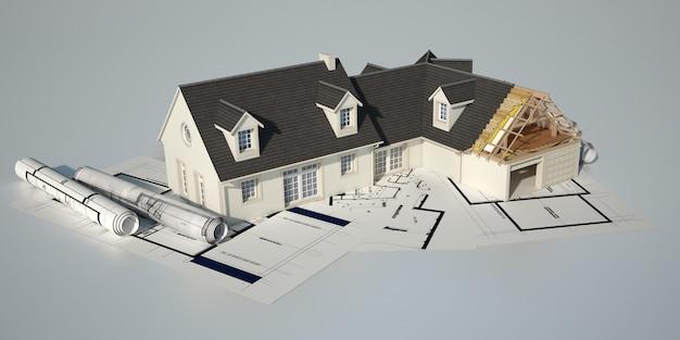 청사진 위에 미완성 된 부분이있는 클래식 하우스의 3d 렌더링