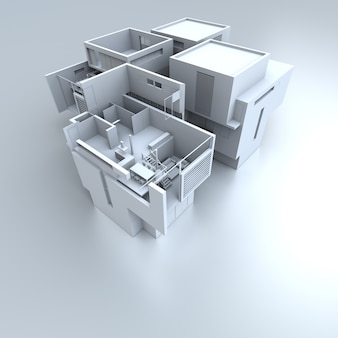 흰색 디자이너 집의 3d 렌더링