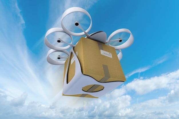 青い空を背景に箱を運ぶ飛行ドローンの3dレンダリング