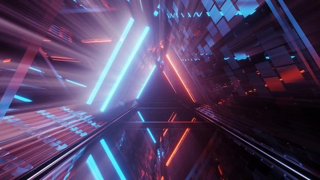 기하학적 모양과 화려한 네온 불빛 미래 배경의 3d 렌더링