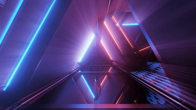 3d-рендеринг футуристического фона с геометрическими фигурами и красочными неоновыми огнями