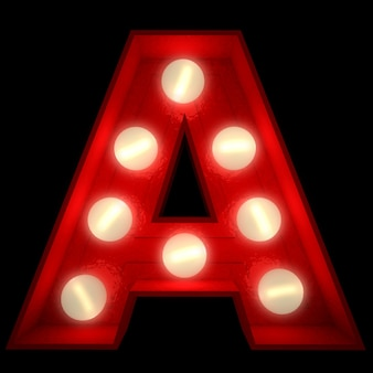輝く文字の3dレンダリングショービジネスの看板に最適