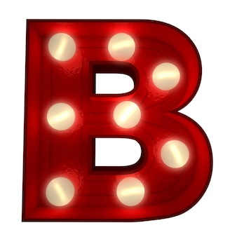 ショービジネスの看板に最適な光る文字bの3dレンダリング