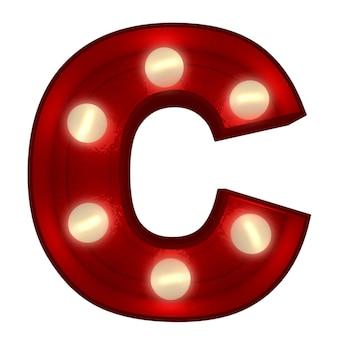 ショービジネスの看板に最適な光る文字cの3dレンダリング