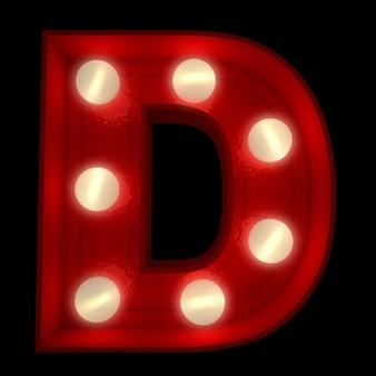 ショービジネスの看板に最適な光る文字dの3dレンダリング