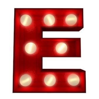 ショービジネスの看板に最適な光る文字eの3dレンダリング