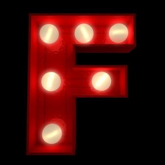 ショービジネスの看板に最適な光る文字fの3dレンダリング