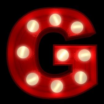ショービジネスの看板に最適な光る文字gの3dレンダリング