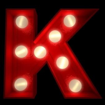ショービジネスの看板に最適な光る文字kの3dレンダリング