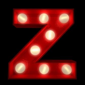ショービジネスの看板に最適な光る文字zの3dレンダリング