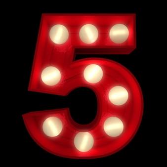 3d-рендеринг светящейся цифры 5, идеальной для вывесок шоу-бизнеса