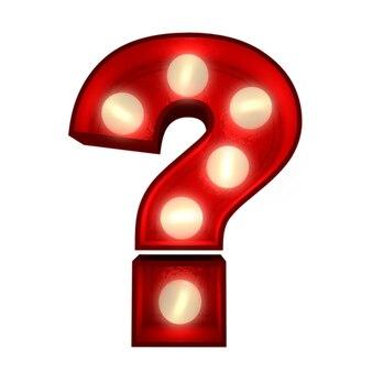 ショービジネスの看板に最適なアルファベットの一部である、輝く疑問符の3dレンダリング