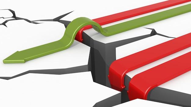 ひびの入った地面を横切る緑の矢印の3dレンダリングで、赤い矢印がその中に落ちます