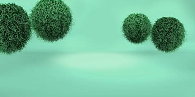 3d-рендеринг зеленого геометрического фона для коммерческой рекламы
