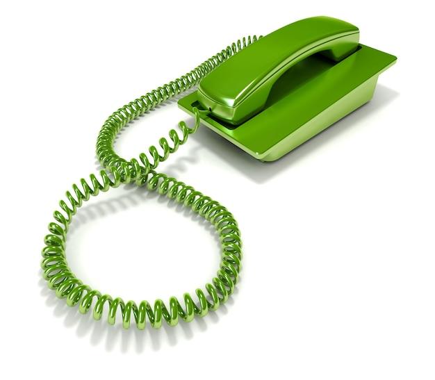 番号をダイヤルせずに長方形の緑色の電話を3dレンダリング