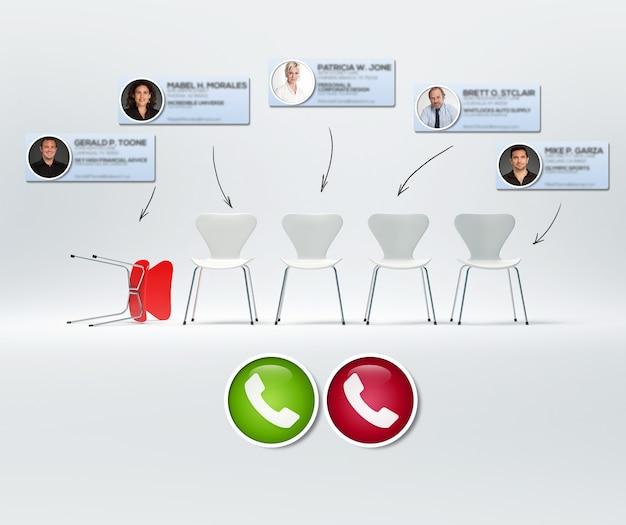 白い椅子の列と背景に赤い倒れた椅子のあるグループ会議のビデオ通話の3dレンダリング