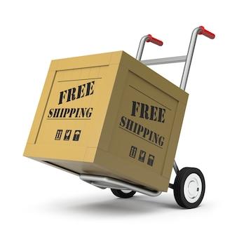 3d-рендеринг ручной тележки и бесплатная доставка груза