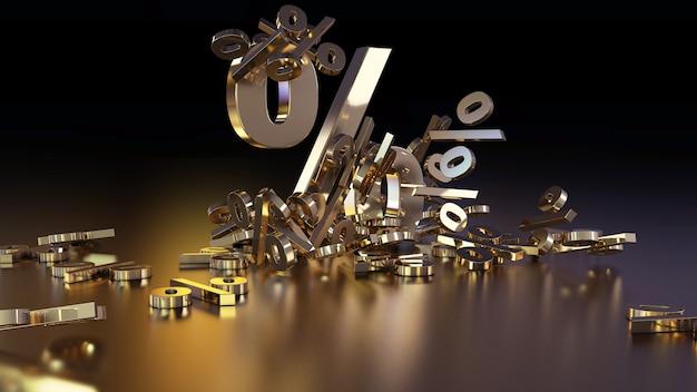 3d-рендеринг большого количества знаков процента, падающих в кучу