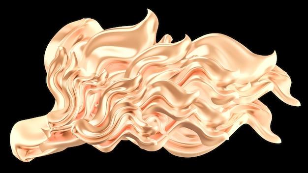 ライトゴールド流れるスプラッシュの3 dレンダリング