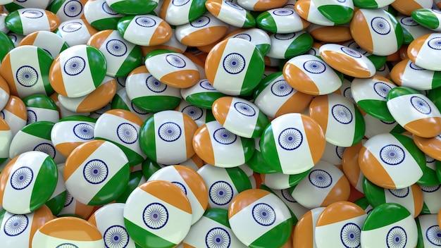 インドの旗を使ったたくさんのバッジの3dレンダリング