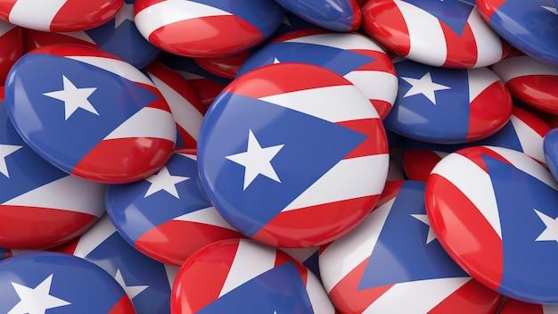 プエルトリコの旗をクローズアップで表示した多くのバッジの3dレンダリング