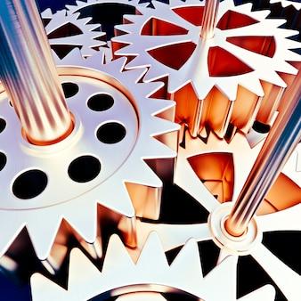 3d-рендеринг механизма зубчатых колес в золотисто-бронзовых тонах идеально подходит для фонов