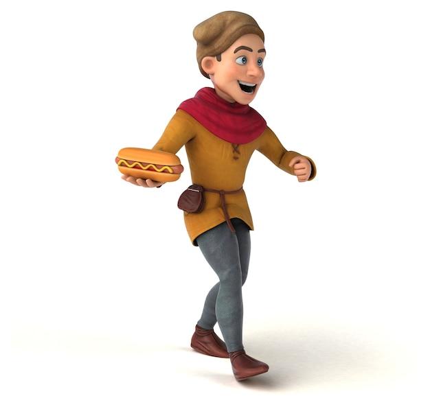 중세 역사적 캐릭터의 3d 렌더링