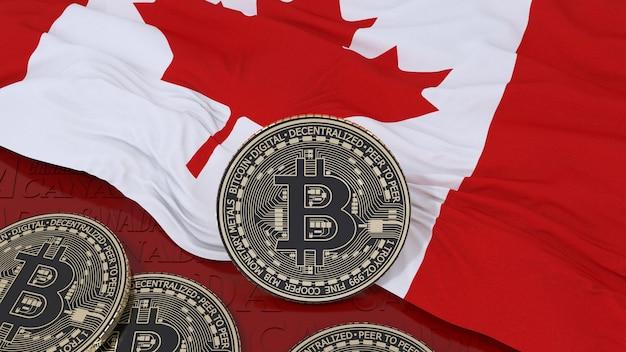 カナダの旗の金属ビットコインの3dレンダリング