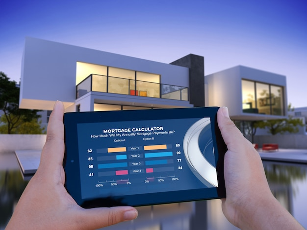 모기지 계산기와 배경에 고급스러운 집이있는 모바일 장치의 3d 렌더링