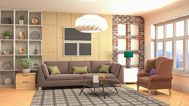 3d рендеринг современной уютной гостиной