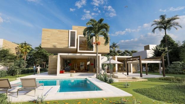 3d-рендеринг современного кубического дома из дерева и бетона с бассейном и садом