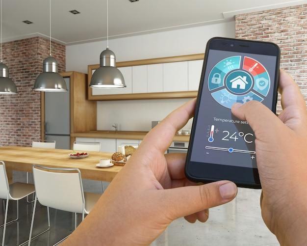 스마트 폰 앱으로 제어되는 현대적인 인테리어의 3d 렌더링