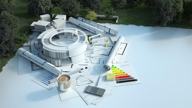 3d-рендеринг современного круглого здания с чертежами, энергетическими диаграммами и другими документами в поле
