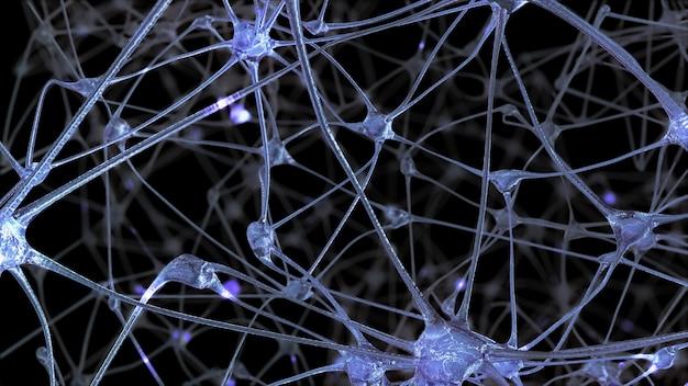 人間の脳内の情報の送信中に電気インパルスと放電が通過するニューロン細胞とシナプスのネットワークの3dレンダリング