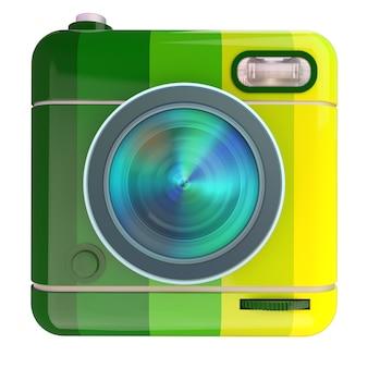 ブラジルの国旗の色で写真カメラアイコンの3dレンダリング