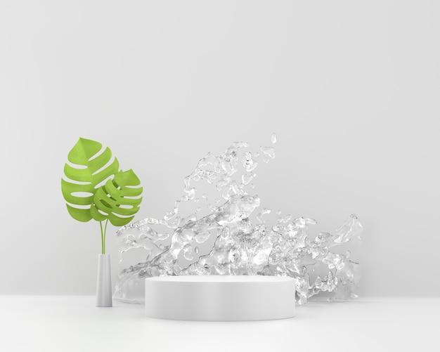 물 스플래시와 연단의 3d 렌더링