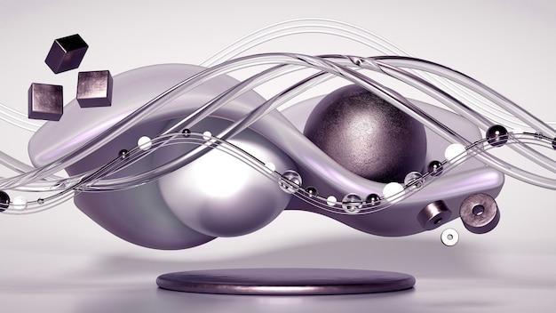3d-рендеринг реалистичной композиции. летающие сферы, торы, трубы, конусы и кристаллы в движении. красивый минимализм фона абстракции. 3d иллюстрации, 3d-рендеринг.
