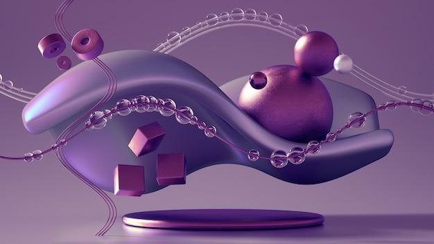 3d-рендеринг реалистичной композиции. летающие сферы, торы, трубы, конусы и кристаллы в движении. красивый минимализм фона абстракции. 3d иллюстрации, 3d-рендеринг. Premium Фотографии